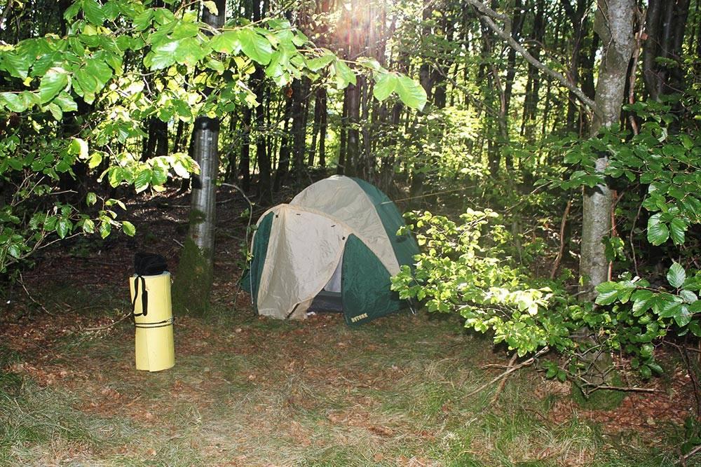 Ночлег на стоянке трассы E45 в 20 километрах от Мюнхена. Мы поставили палатку в лесу за забором-сеткой