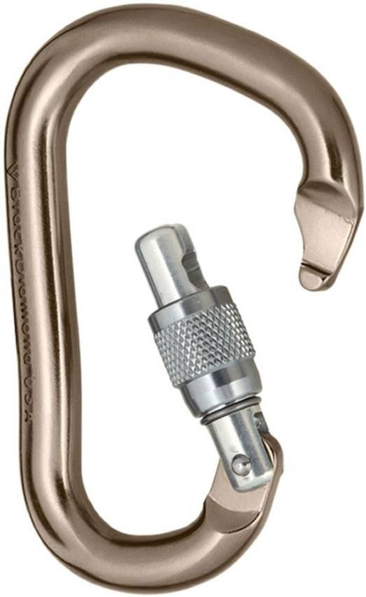 Карабин с кей-локом. Стоят на 15—20% дороже карабинов с крючком, но веревка за него не зацепится, а соскользнет