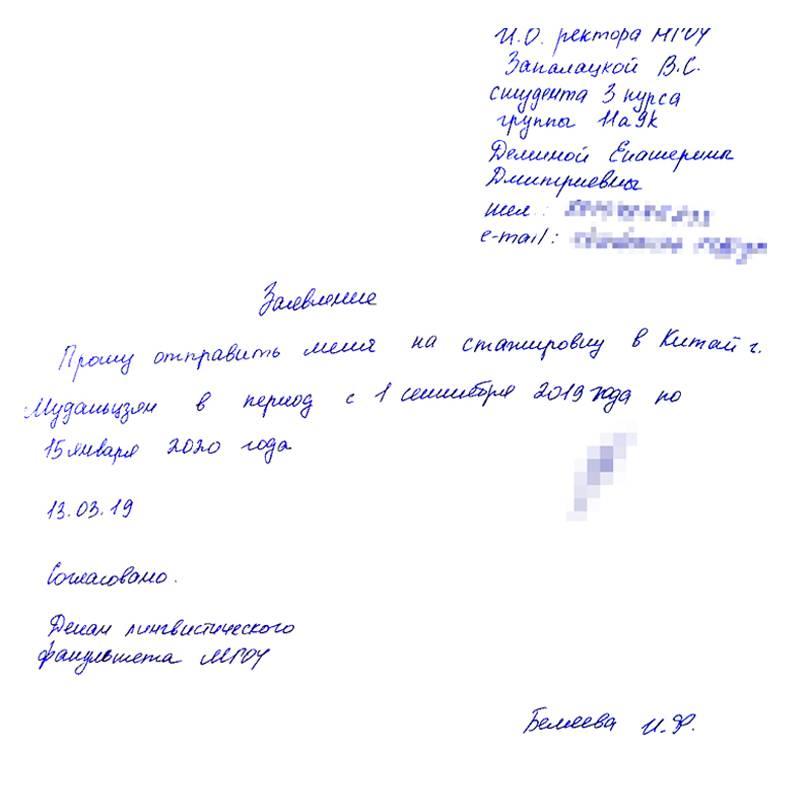 Вот так выглядит заявление, которое студент пишет на имя ректора МГОУ