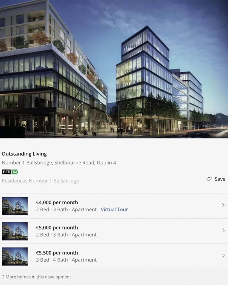 В престижном районе Баллсбридж аренда квартиры с двумя спальнями стоит от 4000€ в месяц. Источник: Daft.ie