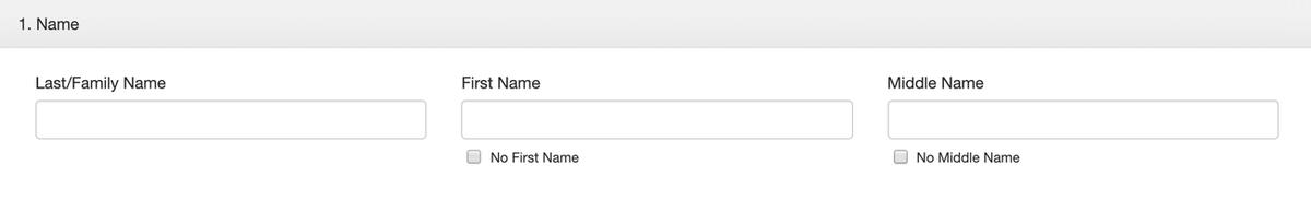 Образец анкеты на грин-карту: раздел про имя. Фамилию и имя нужно переписать с загранпаспорта