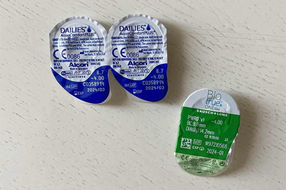 Я использую однодневные линзы разных брендов. Блистер с линзами от Alcon — слева и Bausch & Lomb — справа. Каждая однодневная линза находится в одноразовой индивидуальной упаковке, дляих хранения не нужен специальный контейнер