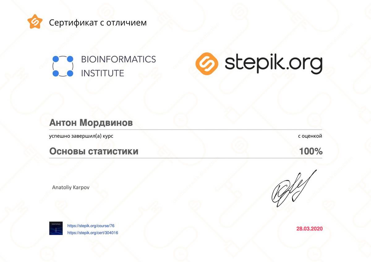 Чтобы получить сертификат на «Стэпике», нужно было прослушать 80% лекций. Но я еще прошел необязательные модули и правильно выполнил все тесты. Поэтому у меня сертификат с оценкой 100%