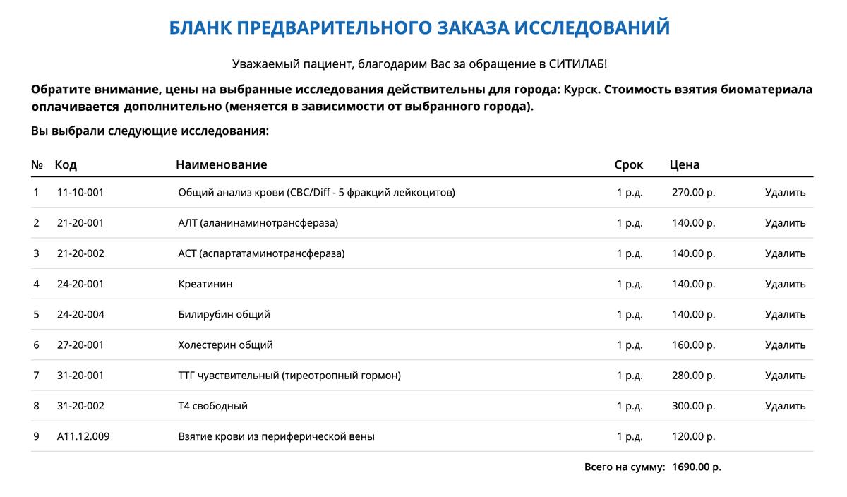 Стоимость анализов длядиагностики болезней щитовидки в «Ситилабе» в Курске