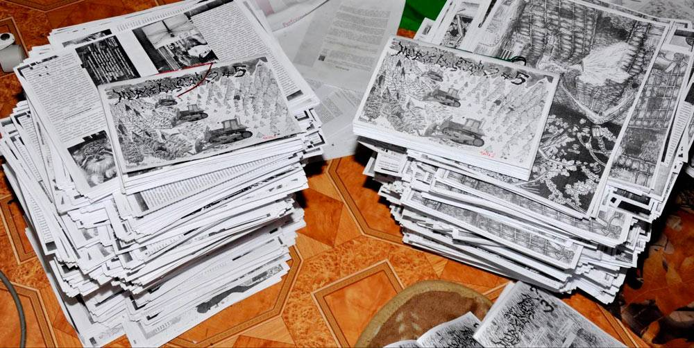 Так выглядела продукция дистро: зины — самодельные печатные издания на тему панка, хардкор-музыки, активизма и веганства. Я печатал их на принтере и отдавал за донейшн — пожертвование в 20—30<span class=ruble>Р</span>