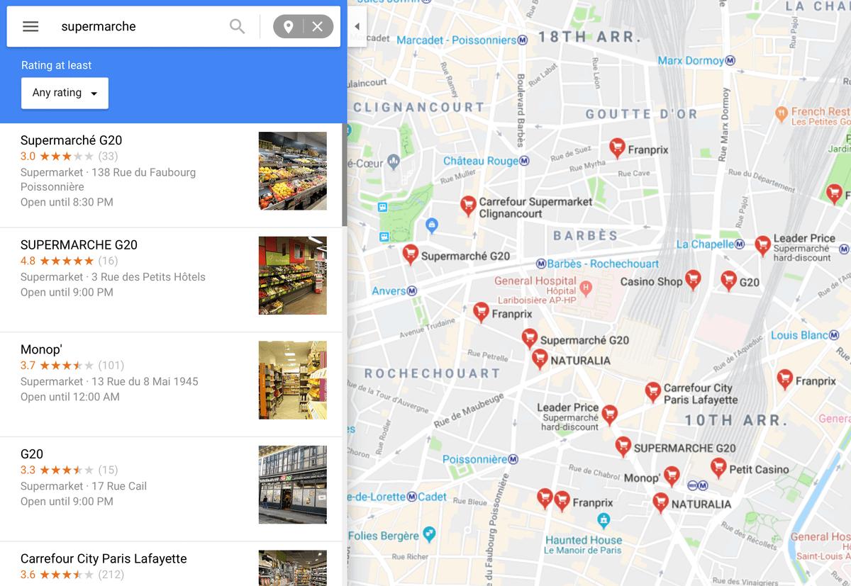 Супермаркеты удобно искать в «Гугл-картах». Для этого нужно выбрать функцию «Рядом» и набрать supermarché или supermarket в окне поиска
