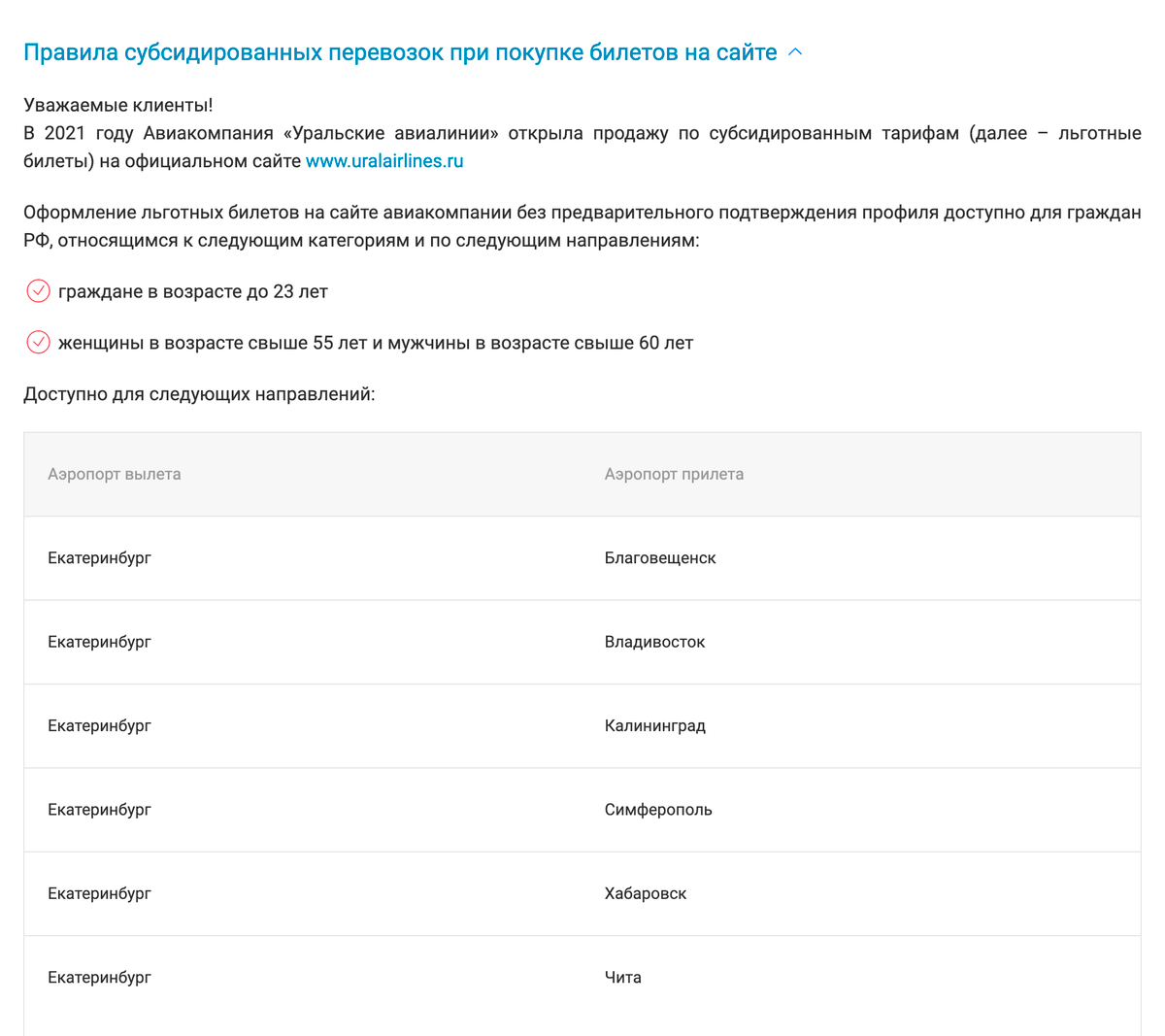 Субсидируемые маршруты «Уральских авиалиний» на 2021год
