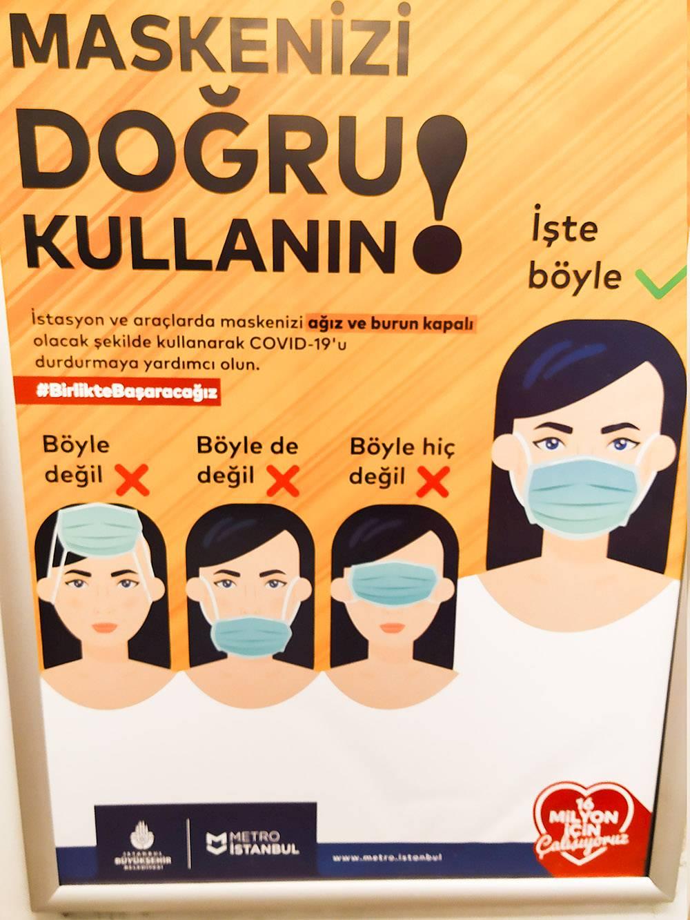 Социальная реклама в метро Стамбула рассказывает, как правильно носить маску
