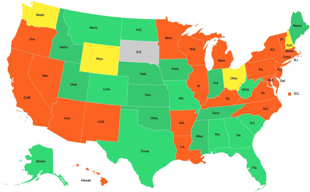 Данные о самоизоляции в разных штатах США на 6мая. Оранжевый — режим самоизоляции действует; желтый — есть послабления; зеленый — режим частично снят; заштрихованный зеленый — режим снят; серый — нет самоизоляции. Источник: Bloomberg