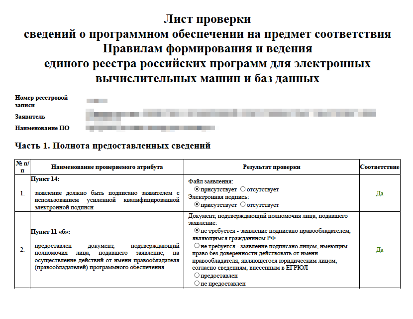 Фрагмент листа проверки сведений. Первая часть посвящена предоставленным сведениям: всели есть или чего-то не хватает