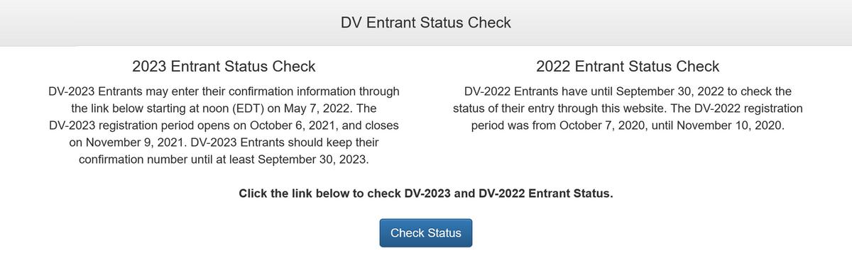 Участники лотереи на грин-карту США 2021года смогут проверить результаты с 7 мая 2022года. Те,кто участвовал в 2020году, могут посмотреть статус своей анкеты до 30 сентября