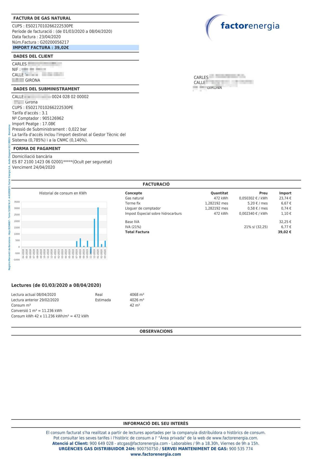 Счет на оплату газа, использованного в марте и начале апреля