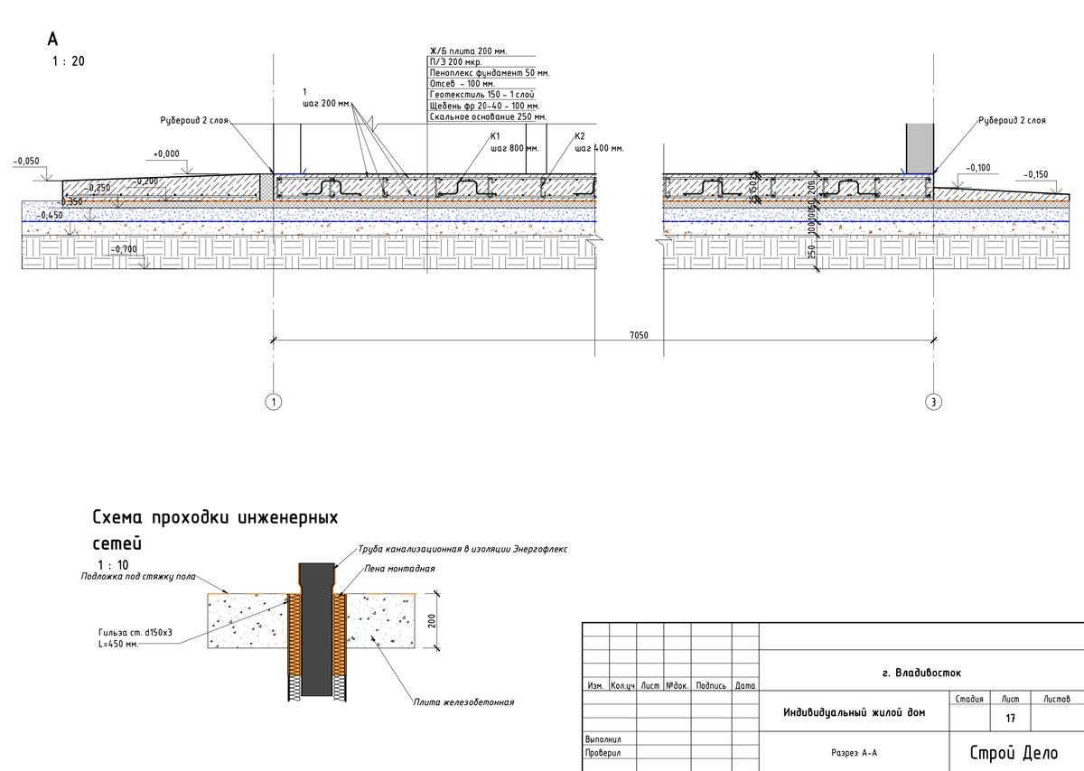 Схема проходки инженерных сетей