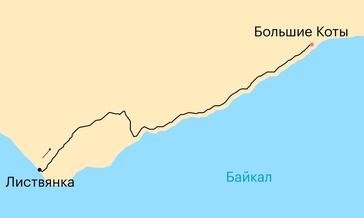 Схема маршрута Листвянка — Большие Коты