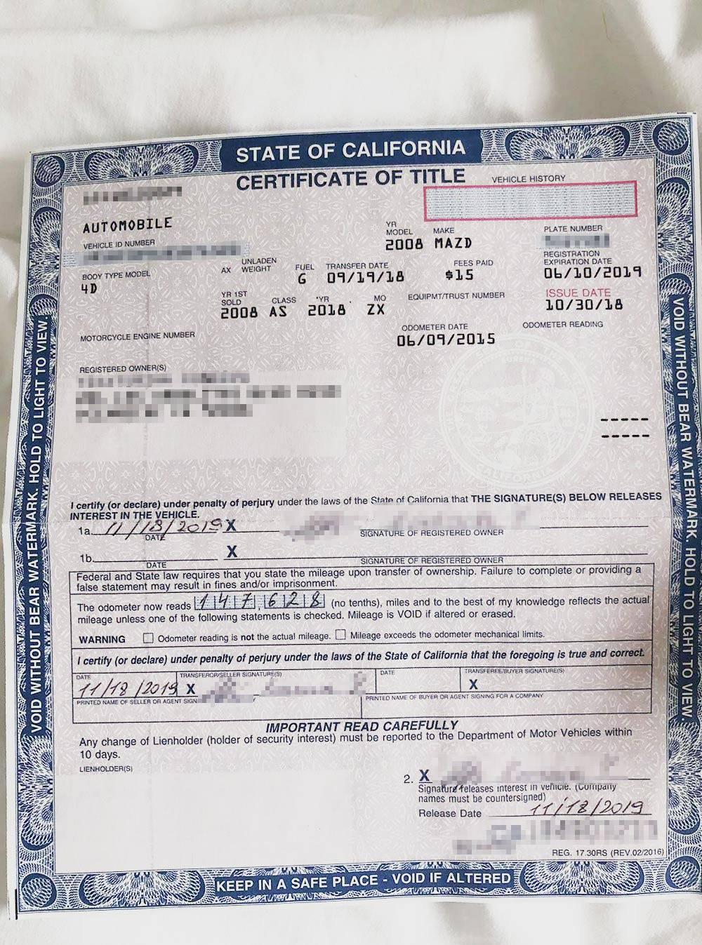 Certificate of title — аналог ПТС — на машину, который отдал мне продавец