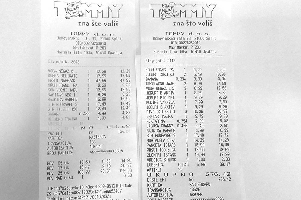 Чеки из продуктовых магазинов в&nbsp;Опатии: бананы по&nbsp;99&nbsp;<span class=ruble>Р</span>, самый простой фруктовый йогурт по 79—92<span class=ruble>Р</span>