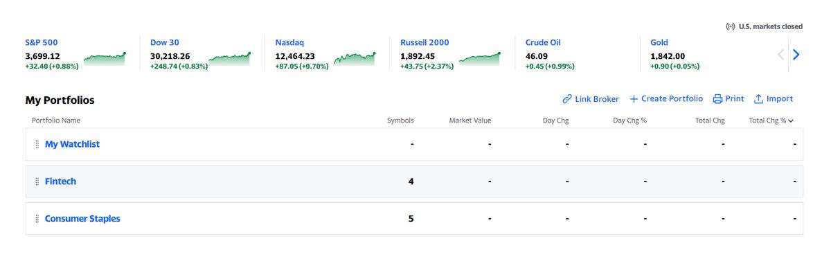 Пример набора портфелей в Yahoo Finance