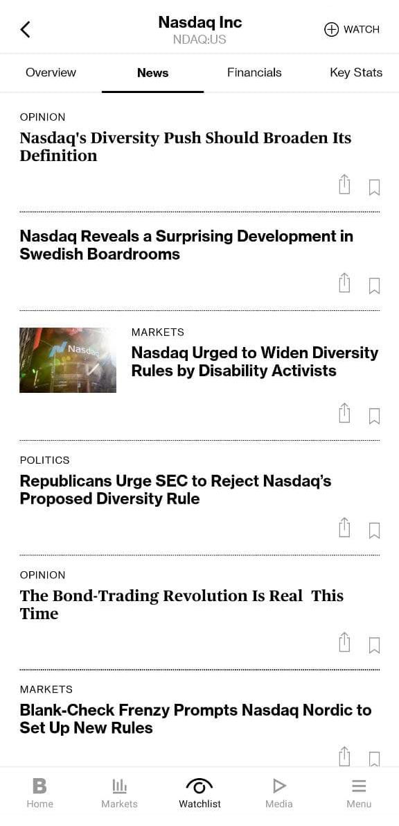 Пример просмотра релевантных новостей по эмитенту из мобильного приложения Bloomberg