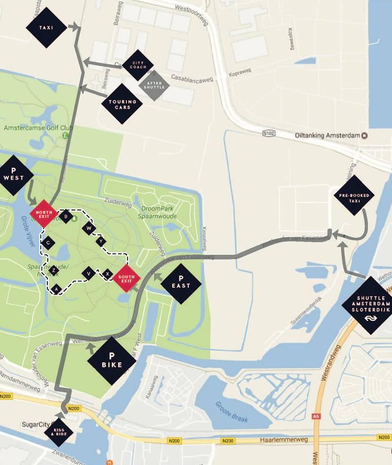 Наглядная карта местности со всеми остановками транспорта и парковками. Источник: официальная страница фестиваля на Фейсбуке