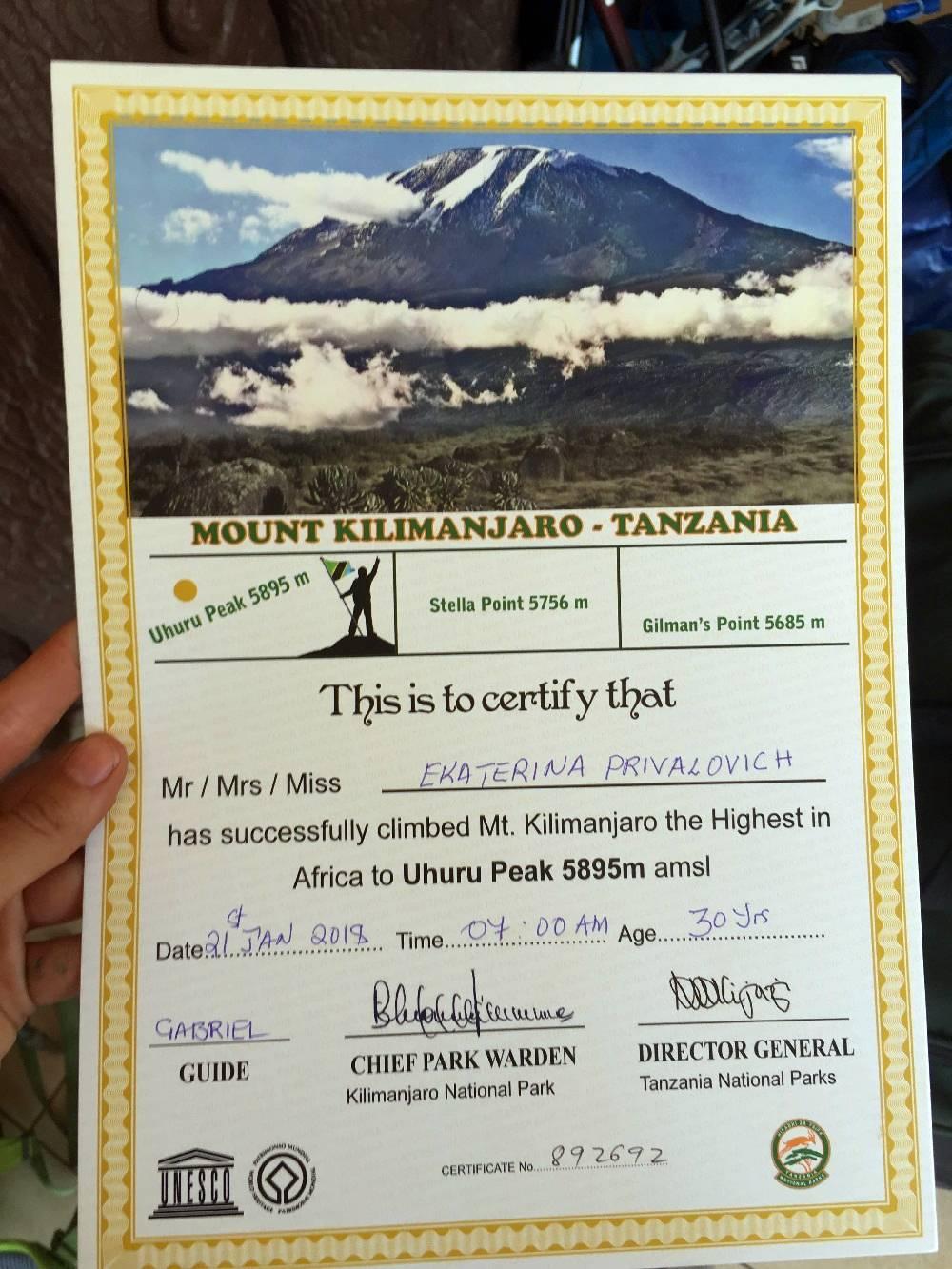 Мой сертификат покорителя Килиманджаро