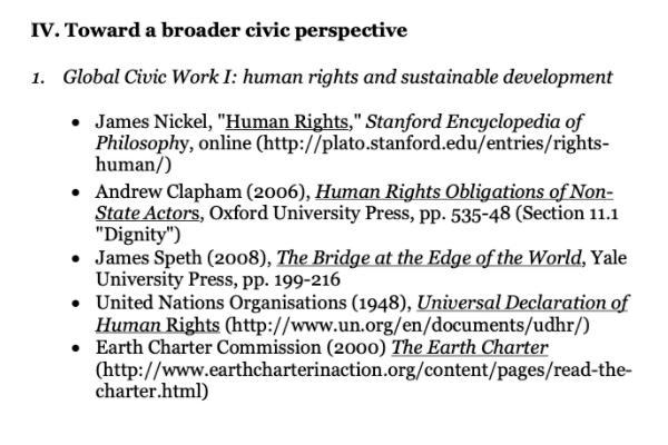 Это список литературы дляодной из дискуссий, которая фокусировалась на правах человека