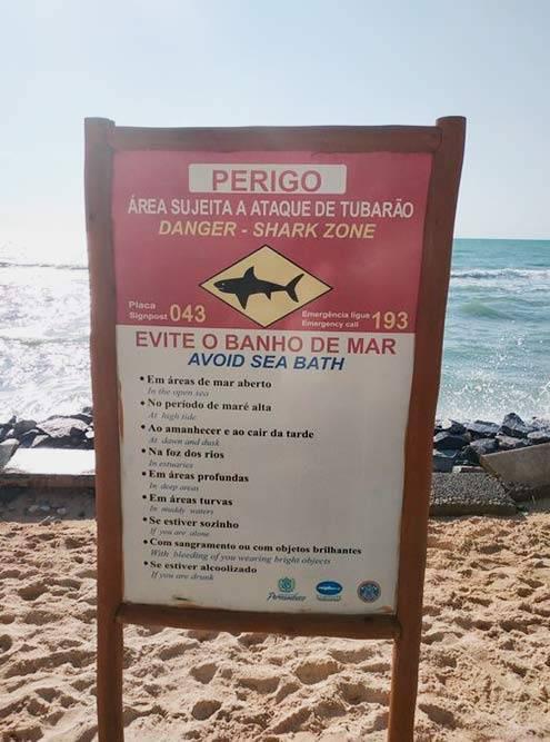 Предупреждающая табличка на пляже Боа-Виажем содержит целый свод правил. Например, там нерекомендовано купаться вовремя приливов, плавать водиночку, скровотечением иливодежде ярких цветов. Иначе есть риск привлечь акул