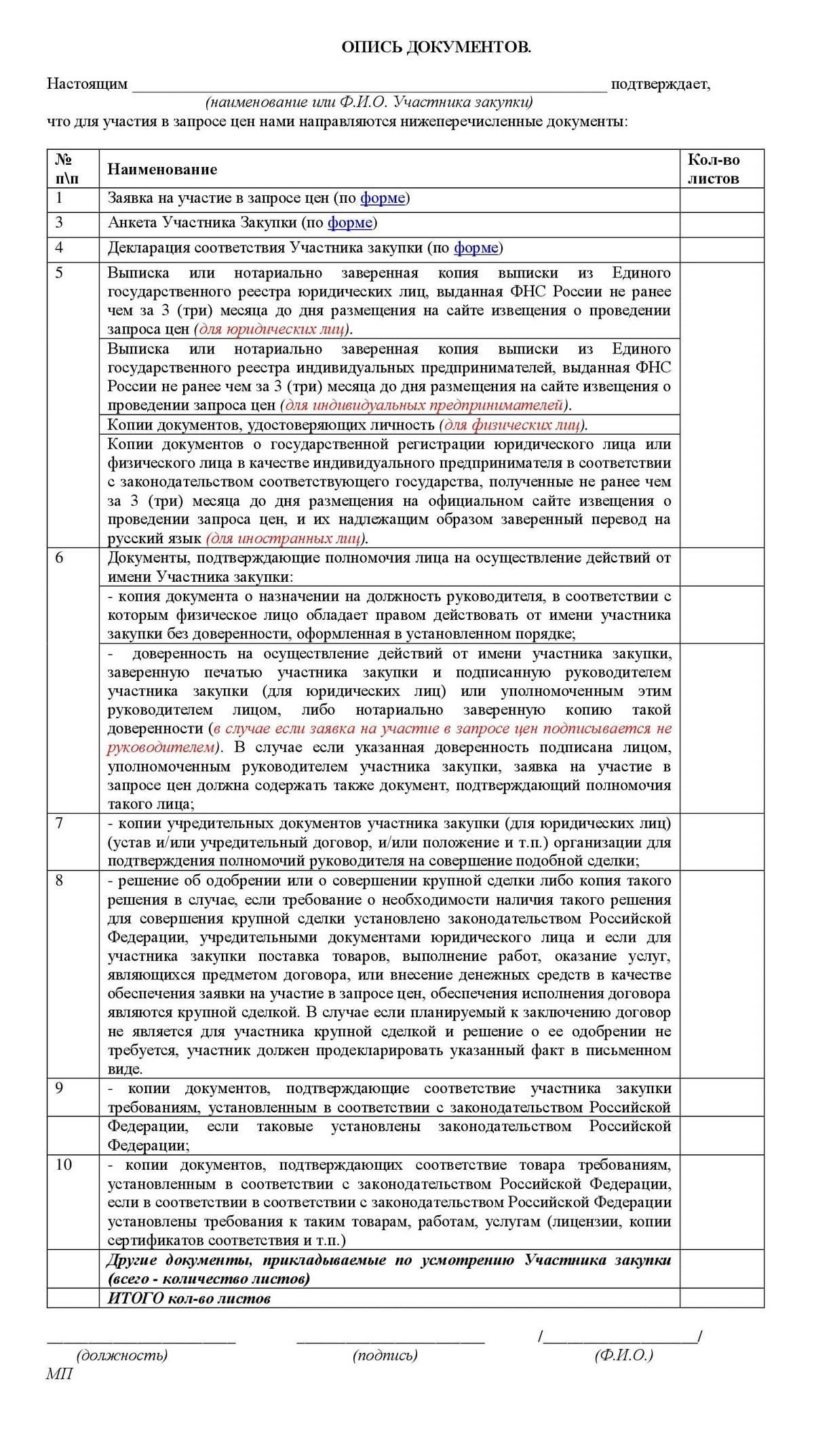 На сайте МФЦ Амурской области я нашла список документов дляучастия в закупке