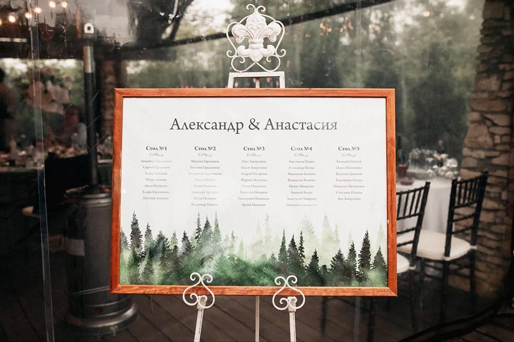 Еще декораторы оформили табличку с планом рассадки, чтобы гости сразу понимали, за какой стол им садиться
