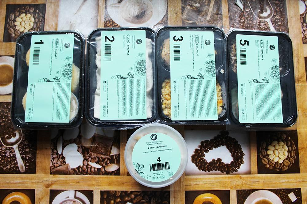Такие контейнеры с едой привозит курьер. Это рацион на день. Блюда в контейнерах не отличались от того, что я видел на сайте, — разве что выглядели менее красочно