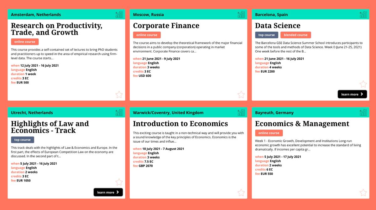 Результаты поиска школ по запросу «экономика» с сайта Summer Schools in Europe безприменения фильтра по цене