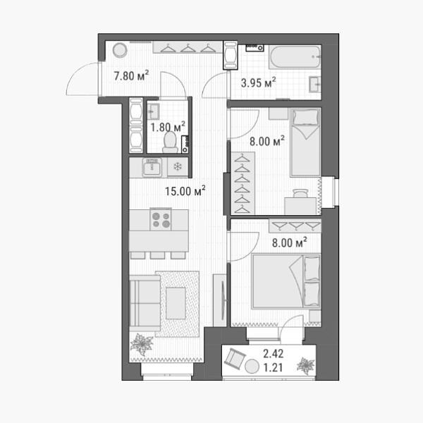 Так выглядит план квартиры, которую я купил. Просто мечта: две спальни, общая гостиная, раздельный санузел и балкон! И все это умещается меньше чем на 50 м². Источник: сайт ЖК«Северная долина»