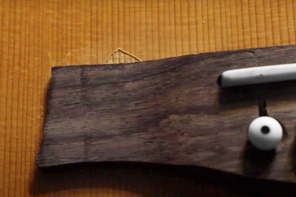 Скол лака в месте приклеивания струнодержателя к корпусу