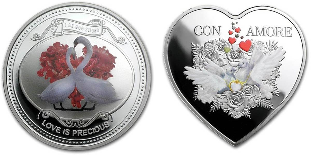 «Свадебная монета с лебедями» — 2 доллара Ниуэ. Красивая монета в виде сердца — 1 доллар Токелау. Часто у таких «монет» даже нет номинала, а тиражи очень большие. Такие изделия часто называют «монетовидными жетонами»