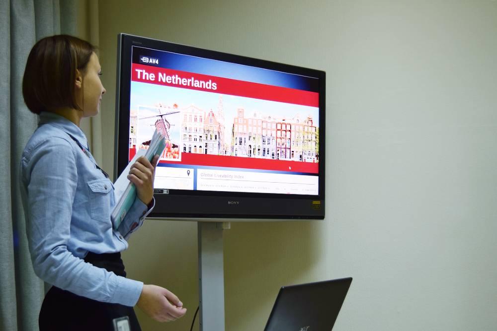 Это я презентую свой проект проНидерланды. Так мы изучали тему современной городской среды и качества жизни в разных странах