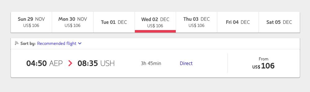 Перелет из Буэнос-Айреса до Ушуайи авиакомпанией «Латам» — 106$ (7270<span class=ruble>Р</span>) в одну сторону