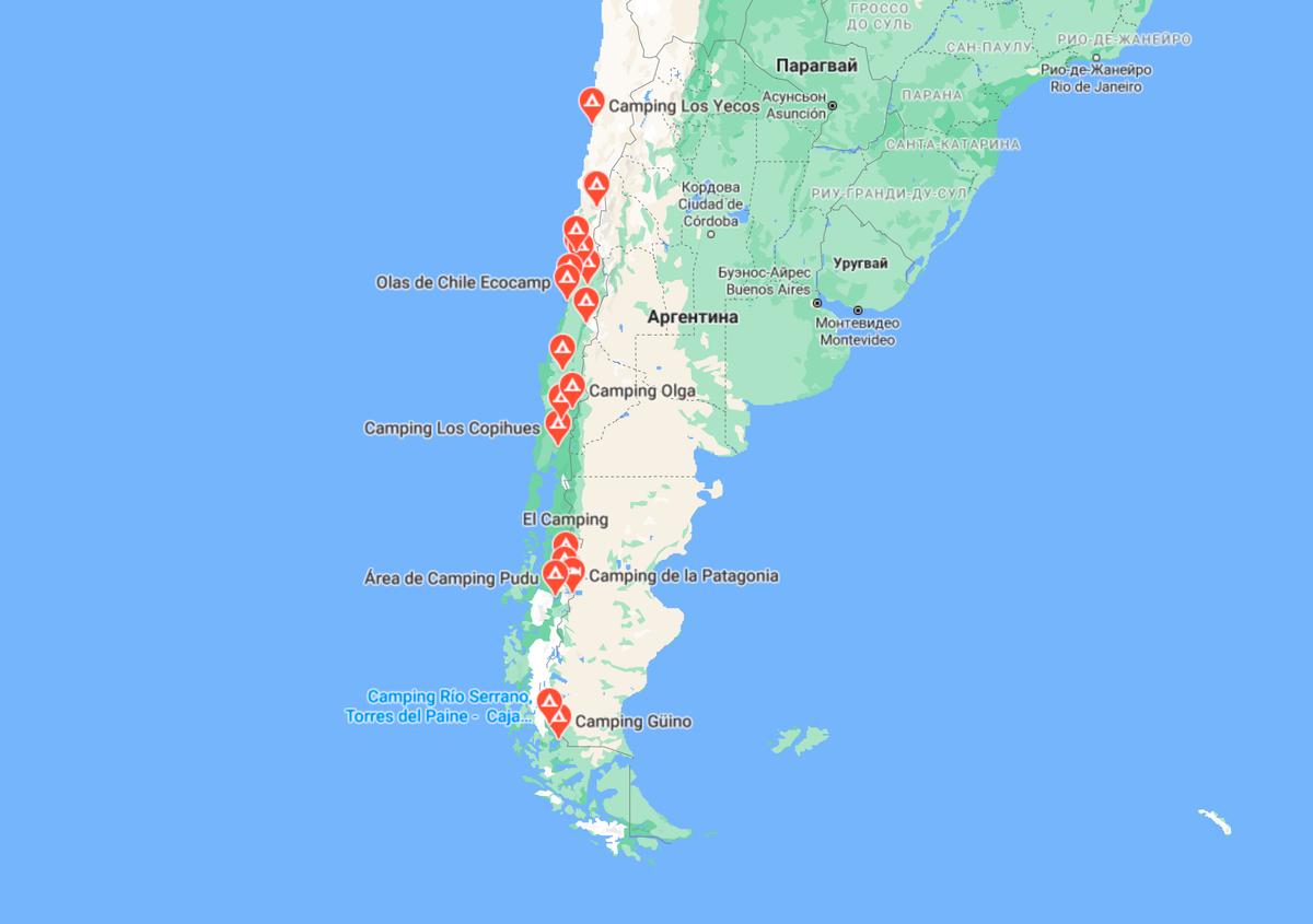 На «Гугл-картах» кемпинги обозначены красными метками спалаткой