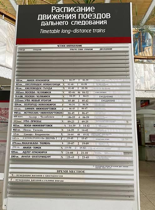 Расписание поездов на вокзале в Златоусте