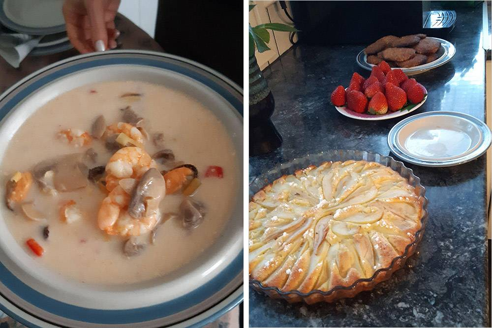 Том-ям и грушевый пирог с лимонной цедрой. И суп, и пирог выше всяких похвал. Еслибы дочь не стала аналитиком, из нее получилсябы первоклассный кондитер