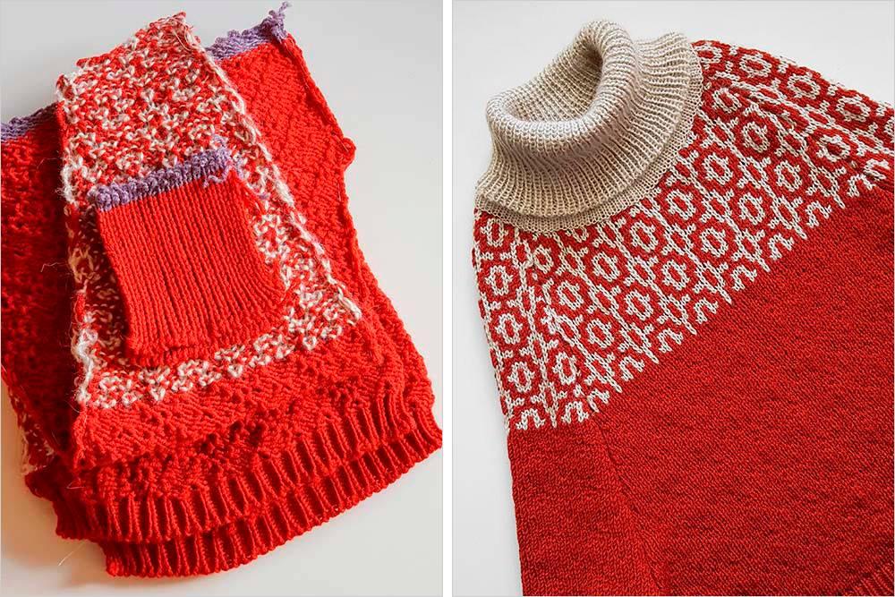 Чтобы получился свитер, сначала вяжут вседетали поотдельности, апотом ихсшивают