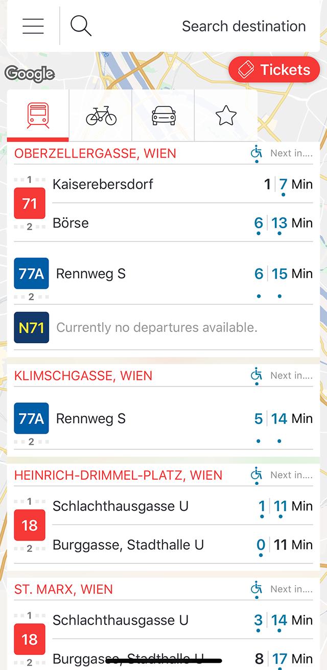 Приложение WienMobil дляотслеживания трамваев ивремени ихприбытия