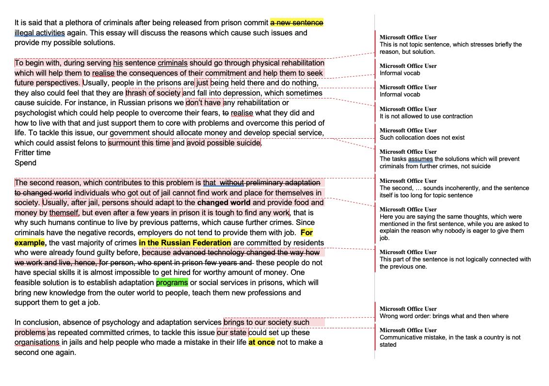 Мое эссе после проверки. Структура эссе — отколичества абзацев довводных слов — соблюдена, но во втором и третьем абзацах я ошиблась вповествовании и написала неотом, что требовалось в задании. Некоторые предложения ислова несочетаются друг сдругом, кое-где я использовала неформальный язык: в академическом варианте IELTS это запрещено, словарь должен показывать эрудицию