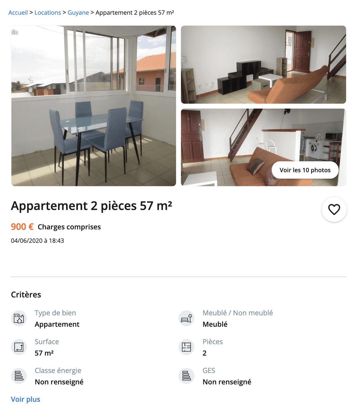 Квартира с двумя комнатами — 900€
