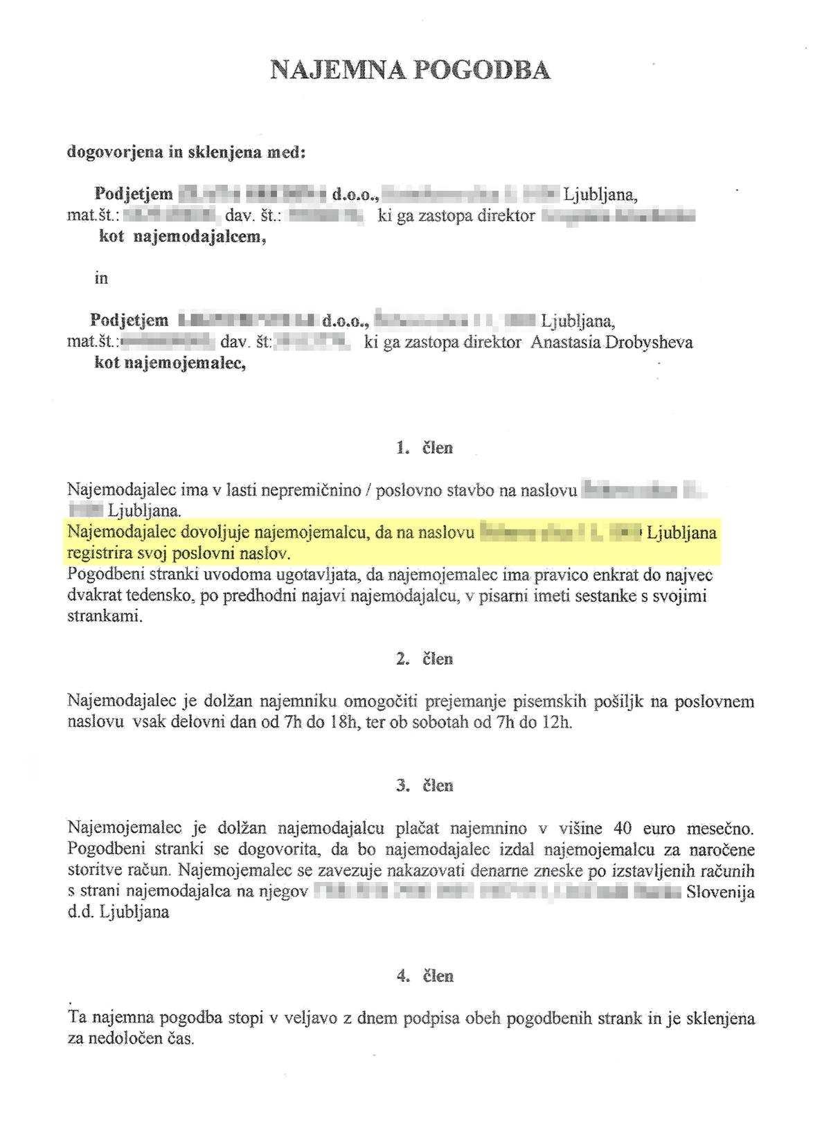 Договор с провайдером юридического адреса в Словении. Желтым выделен пункт о регистрации адреса