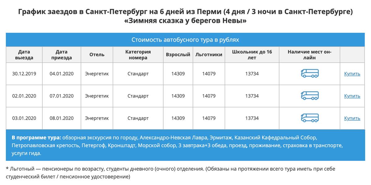 Новогодний автобусный тур Пермь — Санкт-Петербург на 4 дня без&nbsp;дороги стоит 14 300<span class=ruble>Р</span>