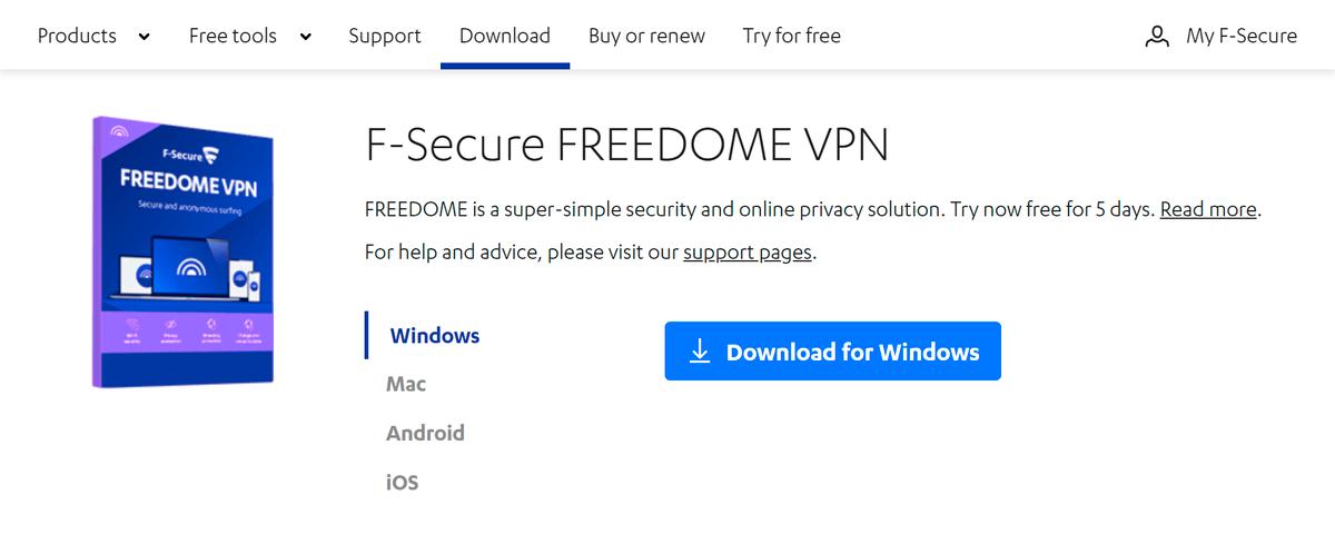 Покажу процесс установки клиента на примере сервиса F-Secure. Зайдите в раздел Download на официальном сайте компании. Скачайте программу F-Secure FreedomeVPN подсвою операционную систему