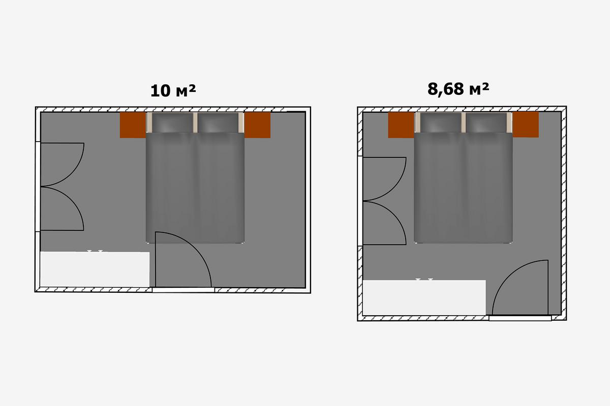 Важен нетолько размер, ноиконфигурация комнат. Поэтому стоит примерно представить, как встанет вкомнате крупный предмет мебели, например кровать вспальне или кухонный гарнитур. Иногда случается, что вкомнате большей площади кровать можно установить только вугол, иначе внее упрется дверь, авкрошечной комнате такой проблемы нет