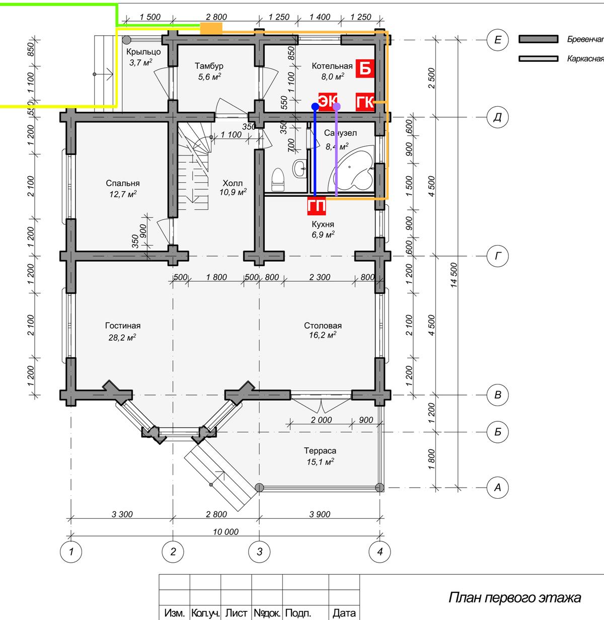 Я взял проект дома и условно обозначил на нем расположение бойлера, котлов — газового и электрического, — газовой плиты и два варианта подведения газопровода
