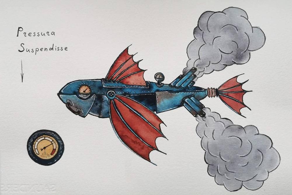 Мой результат смастер-класса «Акварельный стимпанк». Назанятии увсех участников получились разные рыбы вэтой технике