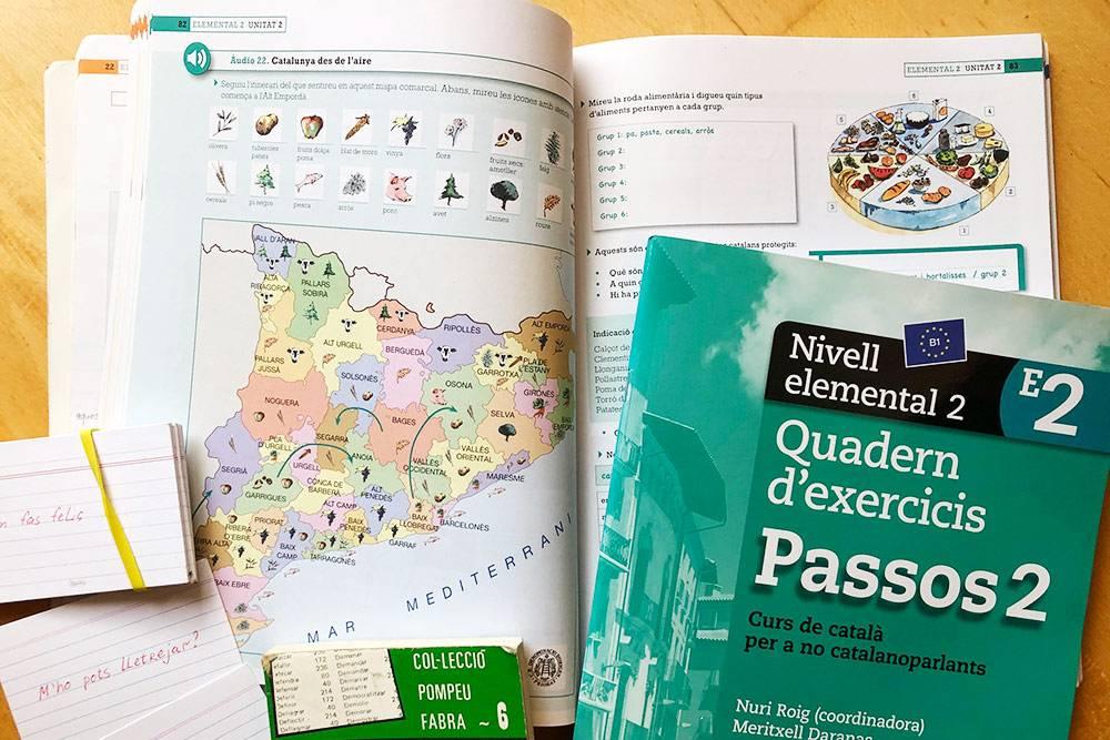 Учебник каталанского языка, рабочая тетрадь, словарь спряжений глаголов и самодельные карточки с фразами