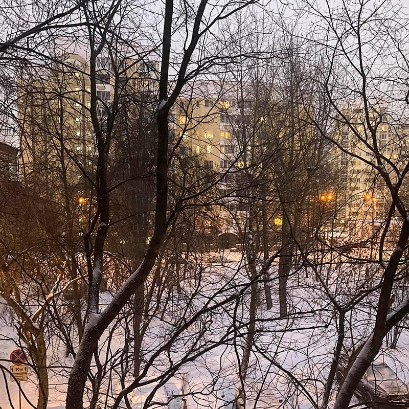 Вечерний вид из окна